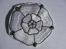 ONE YORKSHIRE WHITE ROSE BADGE SEW OR STICK ON 5CM X 5CM DIMENSIONS MOTIF