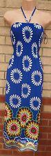 AMPARO FLORAL MULTICOLORED BLUE HALTERNECK LYCRA GYPSY  LONG MAXI DRESS M L