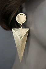 Women Fashion Earrings Big Gold Metal Long Geometric Triangle Charm Dangle Drop