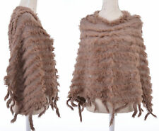 PONCHO TUNIQUE HAUT BOLERO CAPE CHALE MARRON TRICOT FOURRURE 80% LAPIN ZAZA2CATS