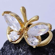 Fashion Jewelry Womens Yellow Gold Filled Clear CZ Butterfly Shape Ring Size 6