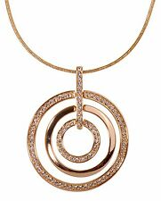 Swarovski Elements Crystal Triple Circle Level Pendant Necklace 18K Gold 7136x