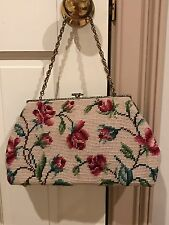 VINTAGE CHIC ROSES NEEDLEPOINT HANDBAG PURSE BRASS CHAIN CLASP UNIQUE  Excellent