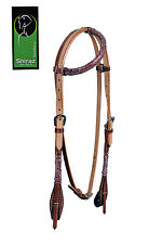 Western Natural Leather One Ear Bevelled Rawhide Braided Headstall