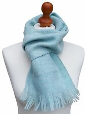 UNISEX 100% Shetland Wool Light Blue Scarf 162cm x 23cm Made In Scotland Marked