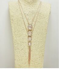 Rose Gold and Rhinestone Accented Tassel FASHION Necklace