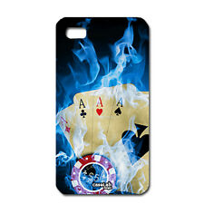 CUSTODIA COVER CASE POKER ASSI CARTE FUOCO BLU PER IPHONE 5 5S