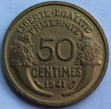 France French currency coin 50 Fifty Centimes oldest coin minted in 1941