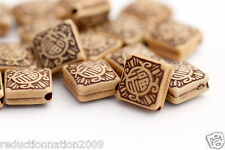 Etched Tan and Brown Acrylic Square Beads 16mm (20)
