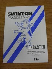 26/11/1978 Rugby League Programme: Swinton v Doncaster