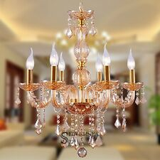 Crystal European Modern Style Chandeliers 6 Lights Fixture Hallway Amber Color