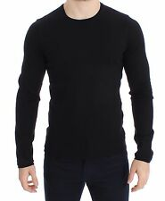 NWT $390 DOLCE & GABBANA Black Cotton Crew-neck Sweater Pullover Top s. IT46 / S