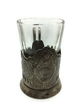 USSR Silver plated Tea Glass holder 1960s Kolchugino Youth festival Peace Dove