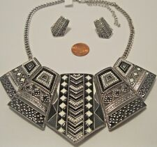Necklace Earring Set Black White Large Silver Aztec Native Collar Chain NWT L806