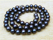 """PERFECT GORGEOUS 18""""10-11MM TAHITIAN AAA+ NATURAL BLACK PEARL NECKLACE 14K WHITE"""
