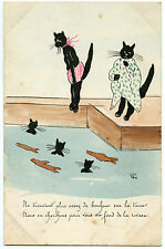 ARTIST SIGNED CHATS NOIRS HUMANISéS A LA PISCINE HUMANIZED BLACK CATS