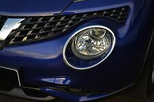 TO FIT NISSAN JUKE 2014+: CHROME HEADLIGHT HEADLAMP RIM SURROUND TRIM COVERS