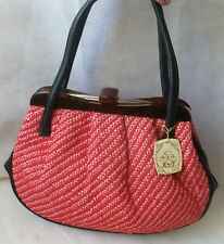 Vintage style red material black faux leather lucite plastic tote bag handbag