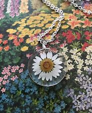 """Real White Daisy Daisies Flower  Resin Necklace 24"""""""