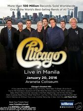 """CHICAGO """"LIVE IN MANILA"""" 2016 PHILIPPINES CONCERT POSTER -Group In Front Of City"""