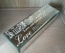 Mirror Glass Wedding 3D Mr & Mrs Certificate Holder Trinket Box Keepsake Gift