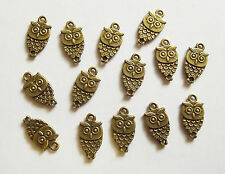 15 Metal Steampunk Antique Bronze Owl Charms - 18mm