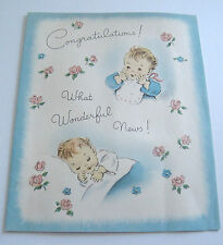 Used Vtg Baby Card Baby in Bib and Sleeping What Wonderful News!