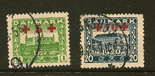 DENMARK: 1921 Red Cross surcharges on 10 ore & 20ore SG 214-5 fine used