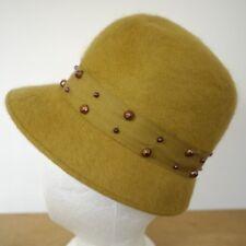Vtg SHAGFELT Mustard Mohair Wool Felt Copper Beads Wedding Church Cloche Hat S