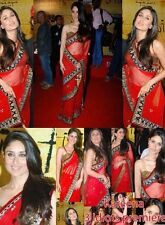 Indian  Bollywood Celebrity  Kareena Kapoor Sari  Replica  red Net Saree