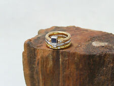 Exklusiver 3-tlg. Ring | 750 Gold | 5 Brilll. ca. 0,05ct + Saphir | 11,1g