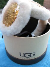UGG AUSTRALIA GOLD SEQUIN DOUBLE U SHEARLING EARMUFFS **BRAND NEW**