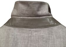 $2275 NEW BRIONI LINEN WOOL SILK & LEATHER LIGHTWEIGHT WATER REPELLENT JACKET XL
