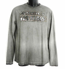 New Men's Hugo Boss Long Sleeve T Shirt Size Medium Grey Tones Distressed Look