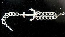 COOL MENS SILVER SAILOR THEME ANCHOR BRACELET STUNNING UNIQUE RETRO ( A18)