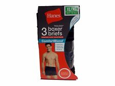 Hanes Boxer Briefs Tagless Black 3 Pack XL XG Comfort Blend Imperfect