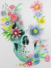 Skulls N' Flowers by Ed Capeau 16x12 Art Print Poster Wall Decor