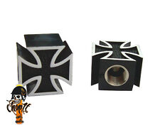 Ventilkappen Iron Cross schwarz für Chopper Bobber Hot Rod Muscle Car