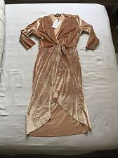 Women's Zara Nude Velvet Dress Size Large New With Tags Never Been Worn