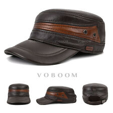 VOBOOM Mens Cowhide Genuine Leather Hat Winter Warm Ear Protect Baseball Cap