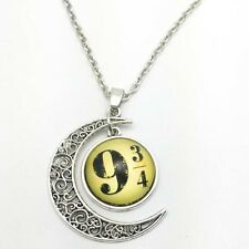 Vintage 3/4 and 9 Cabochon Silver plated chain necklace pendants Moon pendant