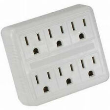 6 Way Electrical Outlet Wall Plug / Power Strip,  UL listed, Six Socket Splitter