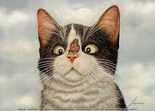CAT ART PRINT - Hugo Hege by Lowell Herrero 7x5 Kitty Cats Butterfly Nose Poster