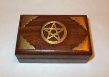 """Wood Box with Brass Pentagram - Wiccan, Stash, Jewelry box - 4 """" x 2.50 """""""