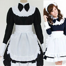 Women Anime Sexy Long Sleeve Cosplay Maid Waitress Costume Girl Princess Dresses
