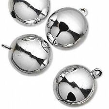 "Jingle Bells Christmas Holiday Craft Decor Jewelry 25mm 1"" Silver Brass Lot of 4"