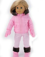 18 inch doll clothing fits American girl, 4 pc pink snow suit