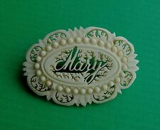 ' MARY 'VINTAGE 70er antica gamba SPILLA Antique Bone brooch nome Mary Love Token