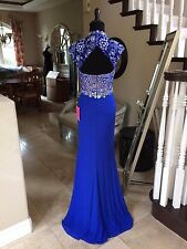 $378 NWT ROYAL BLUE JVN BY JOVANI PROM/PAGEANT/FORMAL DRESS/GOWN #27620 SIZE 4