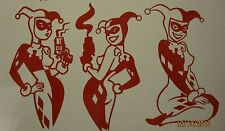 "Harley Quinn 3 Pose Pack 9"" x 5"" Vinyl Decals ***RED***  - Sticker"